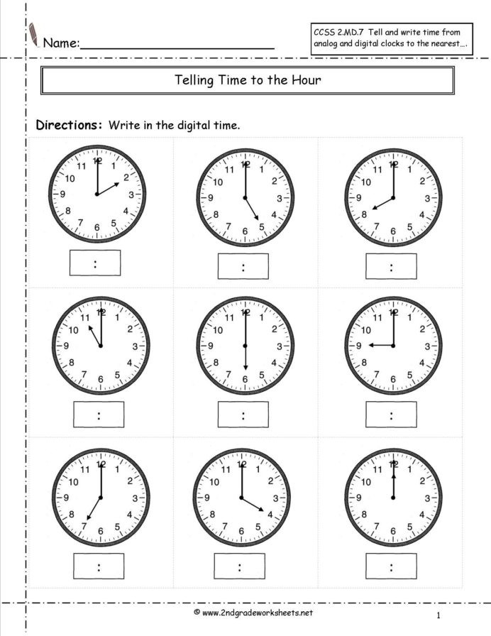 2nd Grade Multiplication Worksheets Telling Time Worksheets Half Hour Kids Math Free 2nd Grade