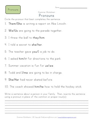 2nd Grade Pronoun Worksheets Choose the Pronoun 2nd Grade Pronoun Worksheet 1