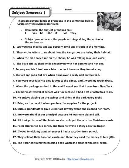 2nd Grade Pronoun Worksheets Subject Pronouns 2