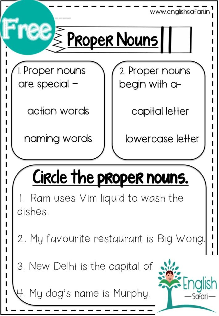 2nd Grade Proper Nouns Worksheet Proper Nouns Worksheets Free