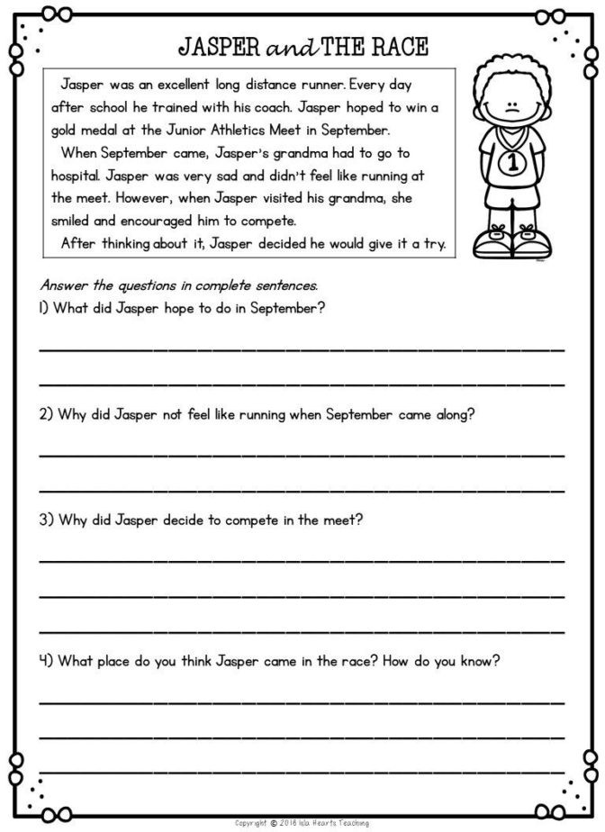 2nd Grade Reading Worksheets Printable Math Worksheet Prehension Questions for 2nd Grade