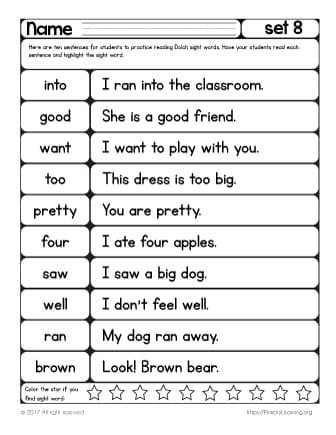 2nd Grade Sight Word Worksheets Sight Words Reading Practice List 8