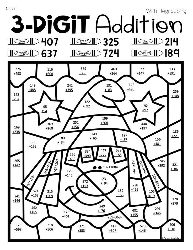 3 Digit Addition Coloring Worksheets Halloween Three Digit Addition Color by Number with and