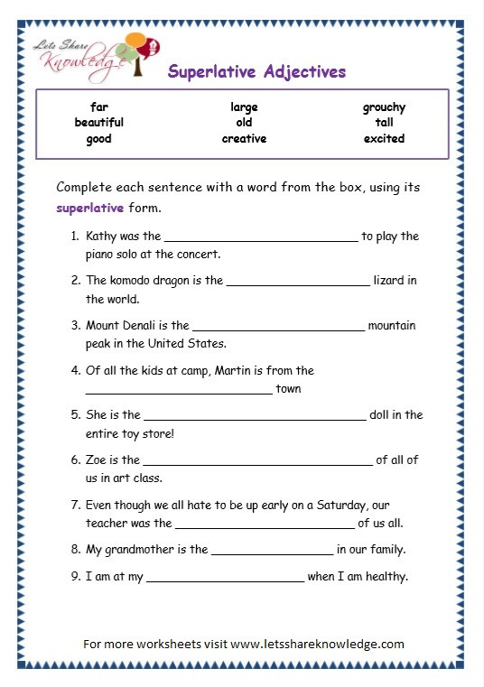 3rd Grade Adjectives Worksheets Grade Grammar topic Superlative Adjectives Worksheets Lets