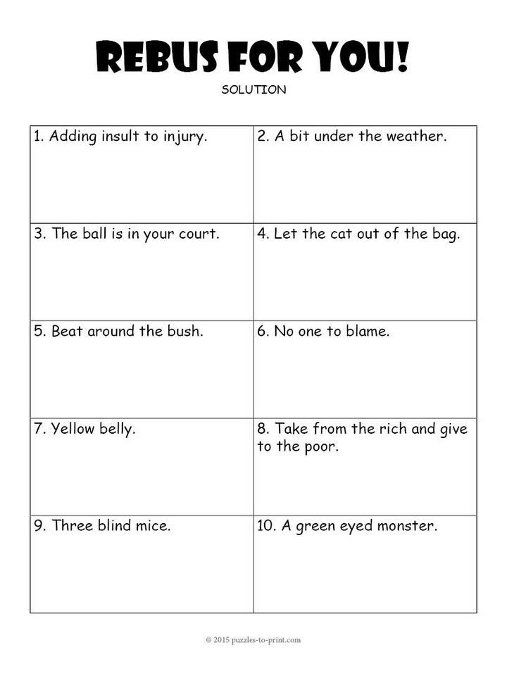 3rd Grade Brain Teasers Worksheets Rebus Worksheet 3