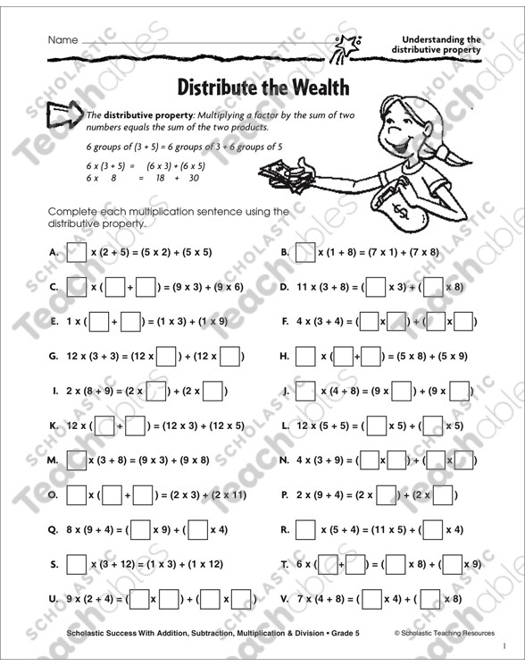 3rd Grade Distributive Property Worksheets Distribute the Wealth Understanding the Distributive