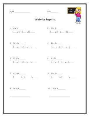 3rd Grade Distributive Property Worksheets Educationjourney Distributive Property