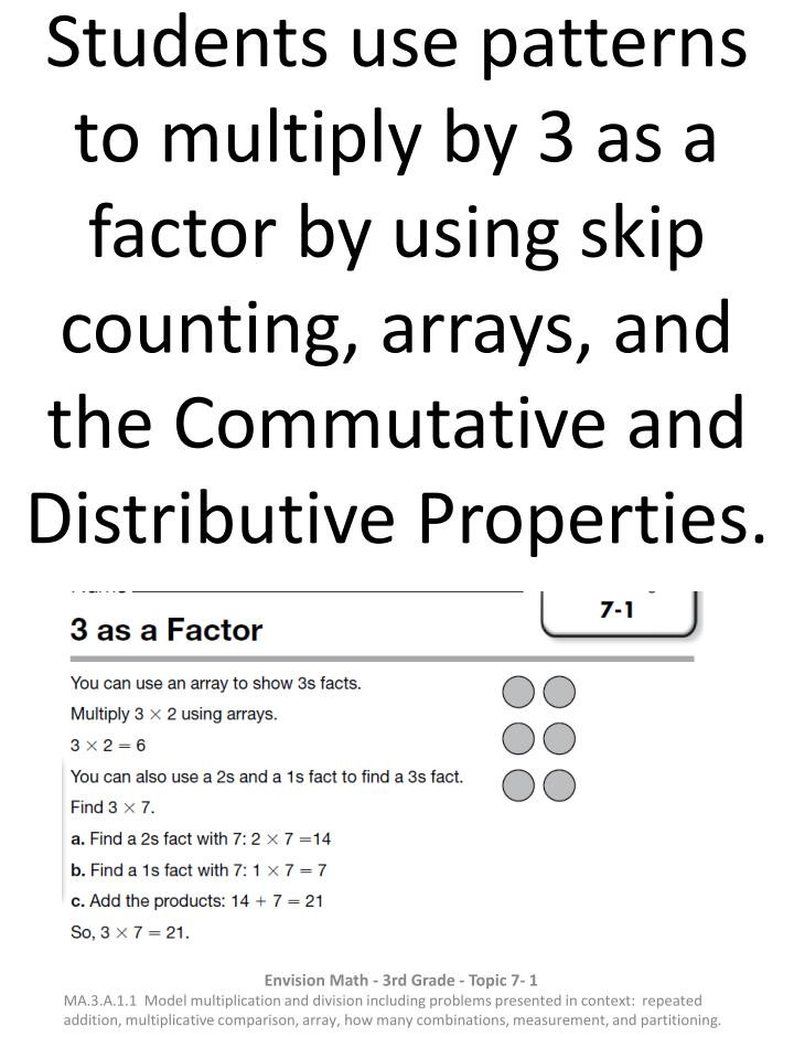 3rd Grade Distributive Property Worksheets Ppt Students Use Patterns to Multiply by 3 as A Factor by