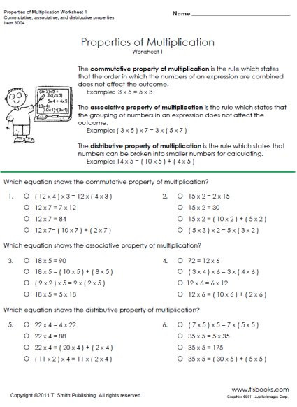 3rd Grade Distributive Property Worksheets Properties Of Multiplication