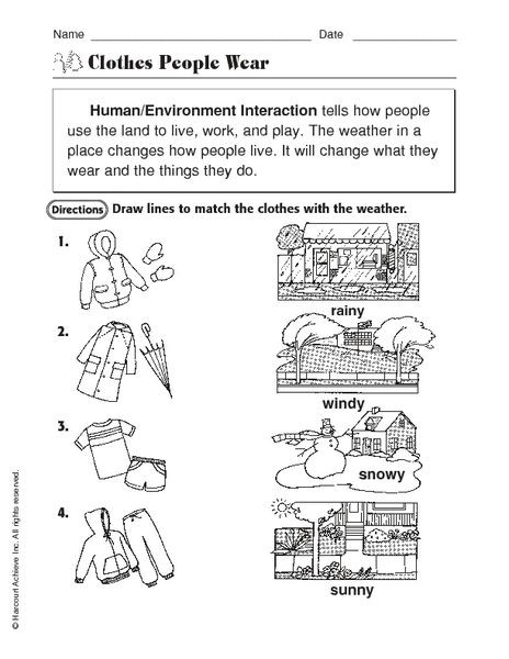 3rd Grade Ecosystem Worksheets Human Environment Interaction Clothes People Wear Worksheet