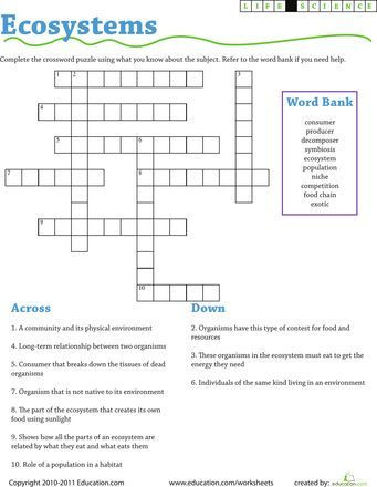 3rd Grade Ecosystem Worksheets Life Science Crossword Ecosystems