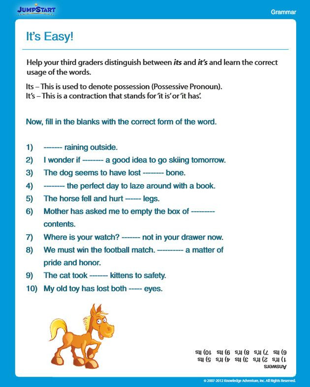 3rd Grade Grammar Worksheets Free It S Easy Free Grammar Worksheet for 3rd Grade