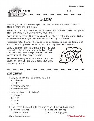 3rd Grade Habitat Worksheets Science Reading Warm Up Animal Habitats Teachervision