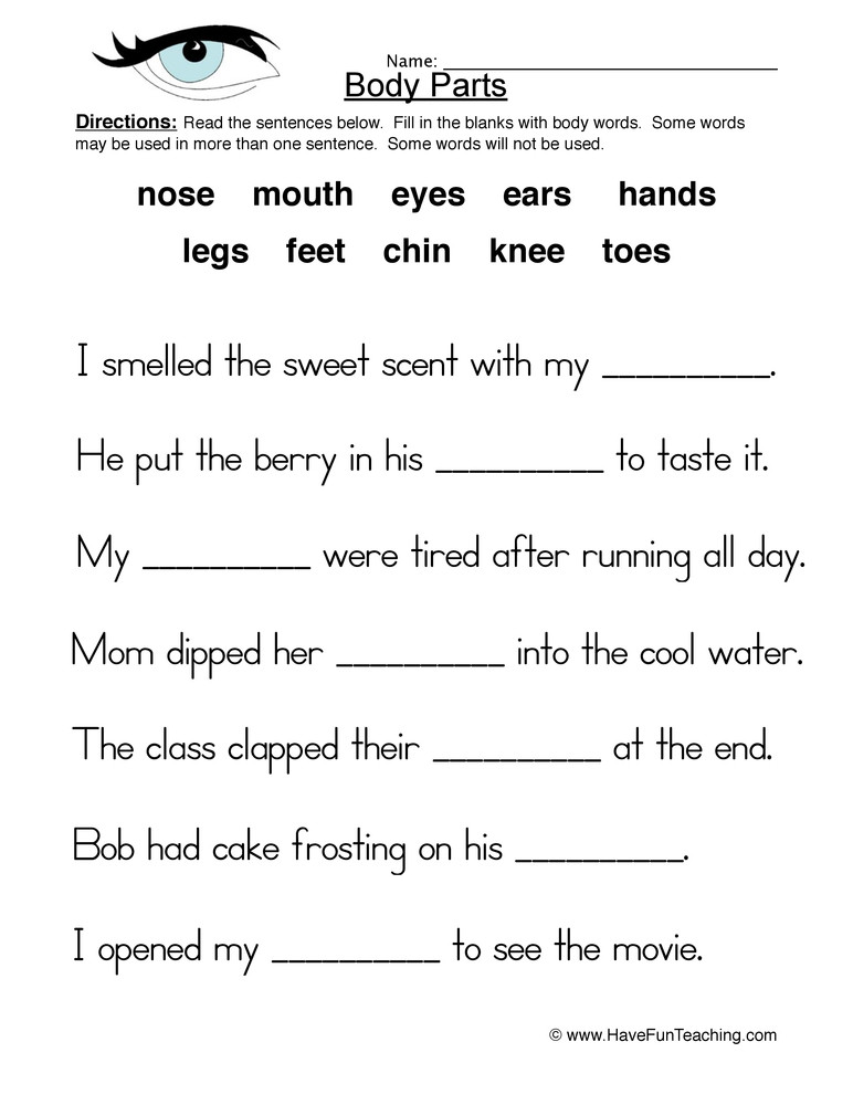 3rd Grade Human Body Worksheets Body Parts Fill In the Blanks Worksheet