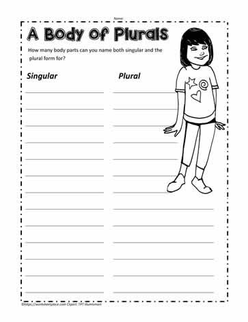 3rd Grade Human Body Worksheets Plural Nouns In the Body Worksheets