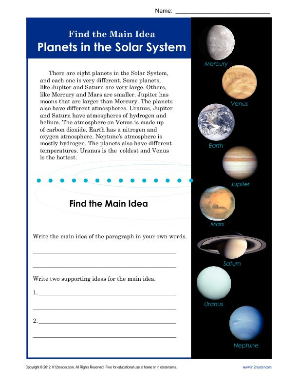3rd Grade Main Idea Worksheets 3rd or 4th Grade Main Idea Worksheet About Planets