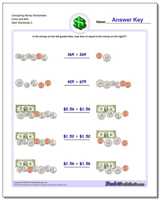 3rd Grade Money Worksheets Paring Money