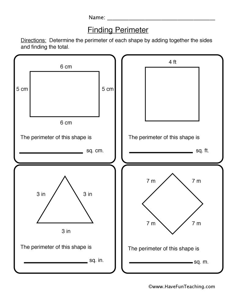 3rd Grade Perimeter Worksheets Finding Shape Perimeter Worksheet