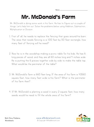 3rd Grade Perimeter Worksheets Mr Mcdonald S Farm area and Perimeter Worksheet