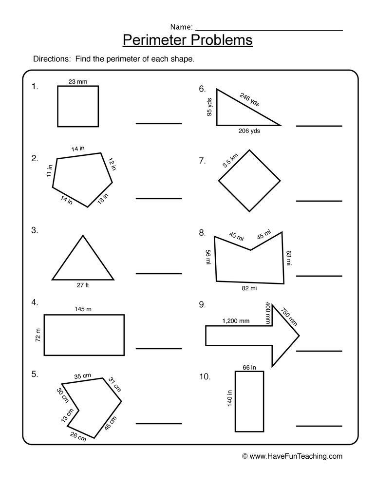 3rd Grade Perimeter Worksheets Perimeter Shape Problems Worksheet In 2020