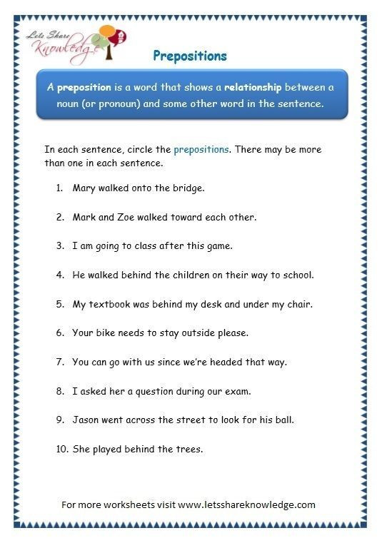 3rd Grade Preposition Worksheets Apps Development Pinwire Page 2 Prepositions Worksheet