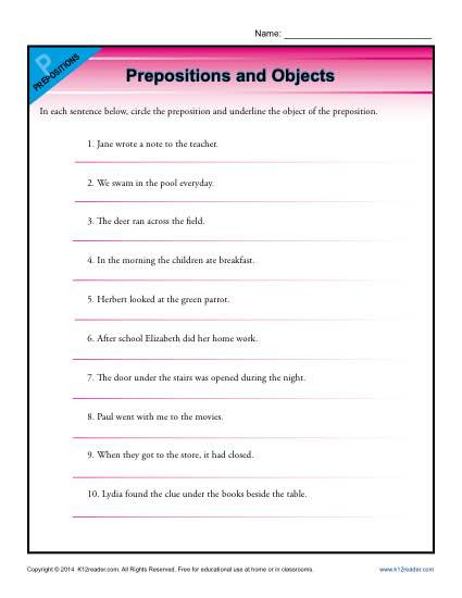 3rd Grade Preposition Worksheets Prepositions and Objects