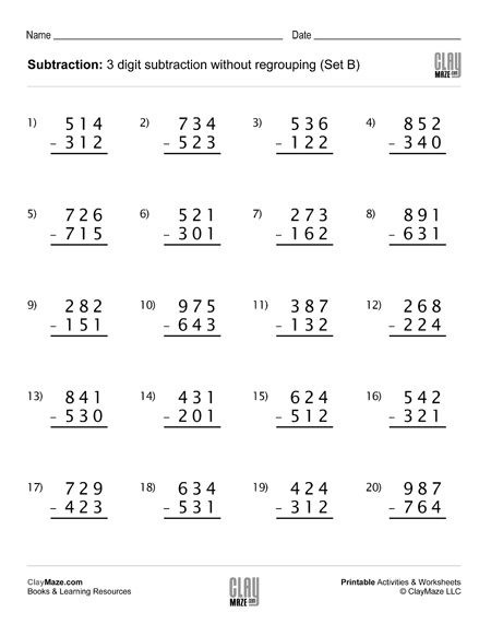 3rd Grade Regrouping Worksheets Addition & Subtraction – Childrens Educational Workbooks