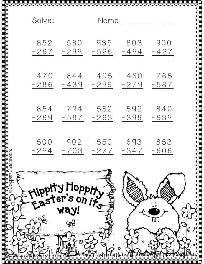 3rd Grade Regrouping Worksheets Nbt Easter themed Digit Subtraction with Regrouping Freebie