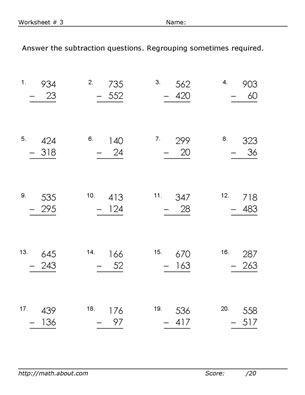 3rd Grade Regrouping Worksheets Practice 3 Digit Subtraction with these Free Math Worksheets