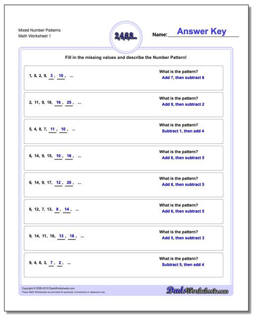 3rd Grade Sequencing Worksheets Number Patterns