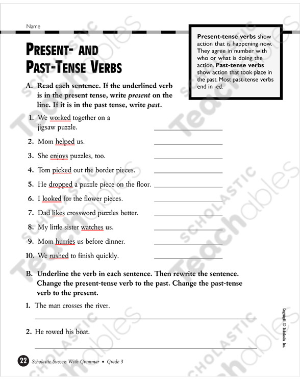 3rd Grade Verb Tense Worksheets Verb Tenses Grade 3 Collection
