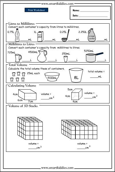 3rd Grade Volume Worksheets Converting and Calculating Volume to