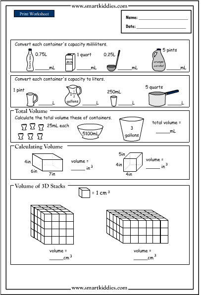 3rd Grade Volume Worksheets Math is F Volume and Capacity Grade 5 Worksheets Two Step