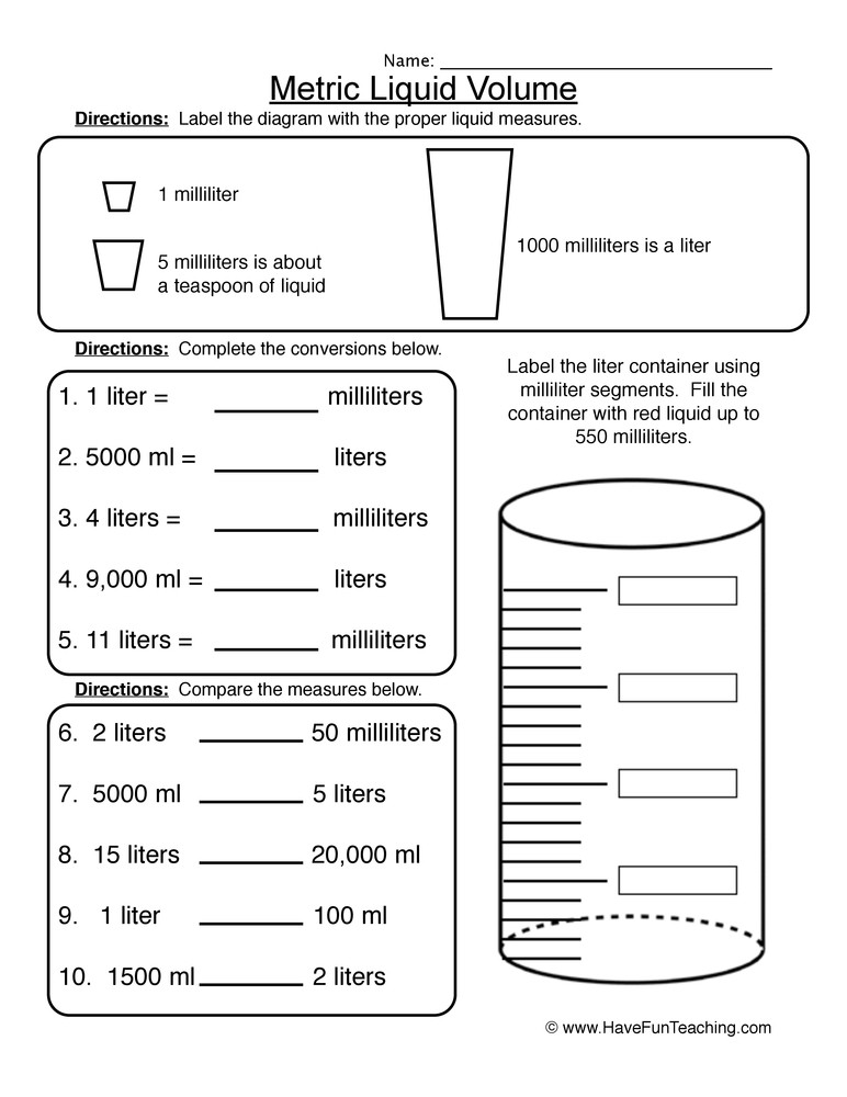 3rd Grade Volume Worksheets Metric Liquid Volume Worksheet