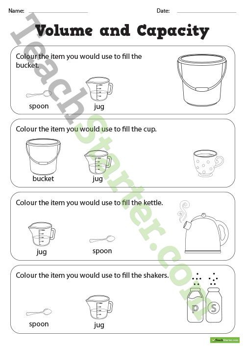 3rd Grade Volume Worksheets Volume and Capacity Colouring Worksheets Teaching Resource