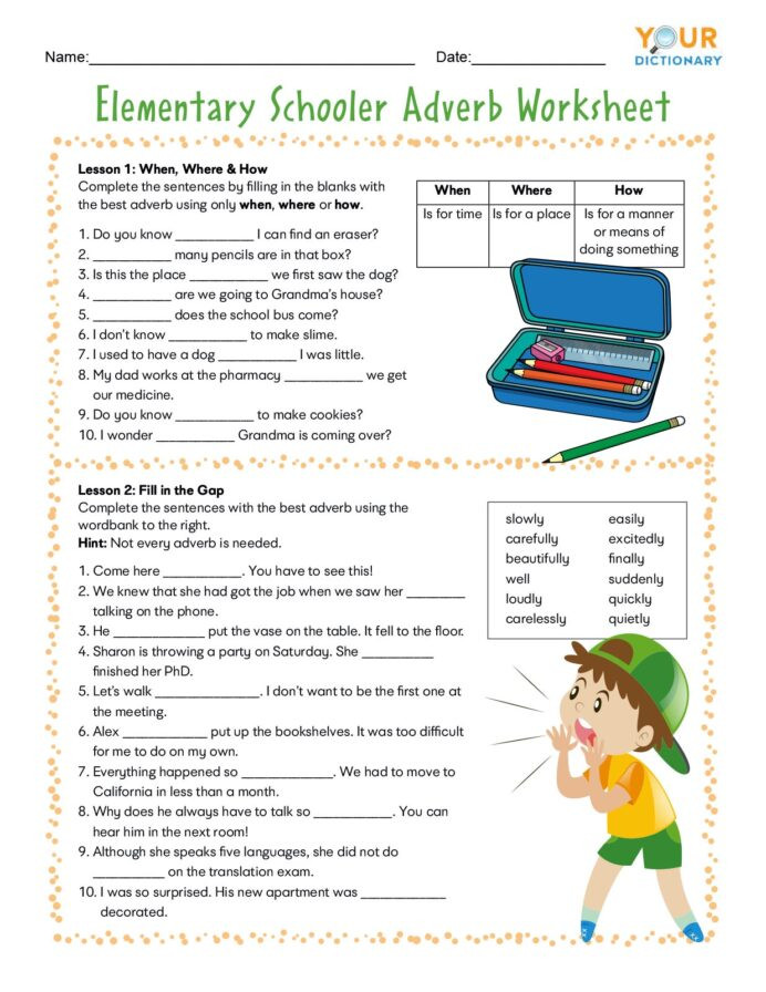 4th Grade Adverb Worksheets Adverb Worksheets for Elementary and Middle School Adverbs