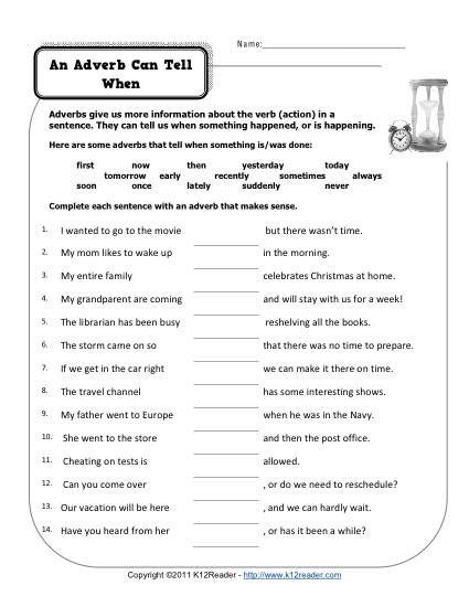 4th Grade Adverb Worksheets An Adverb Can Tell when