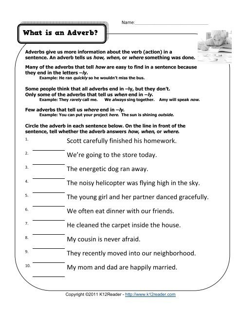 4th Grade Adverb Worksheets What is An Adverb