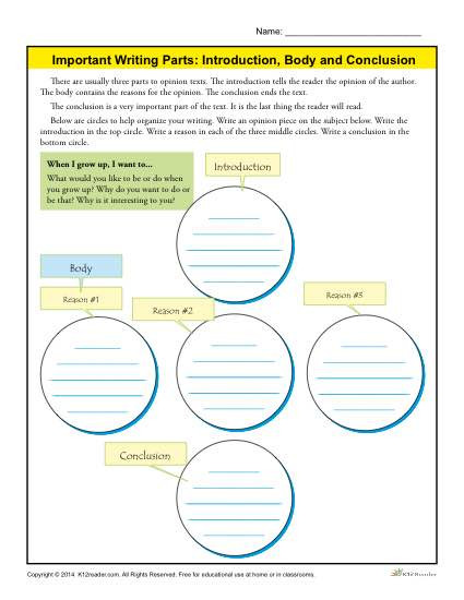 4th Grade Essay Writing Worksheets Introduction Body and Conclusion Worksheet for 3rd Grade