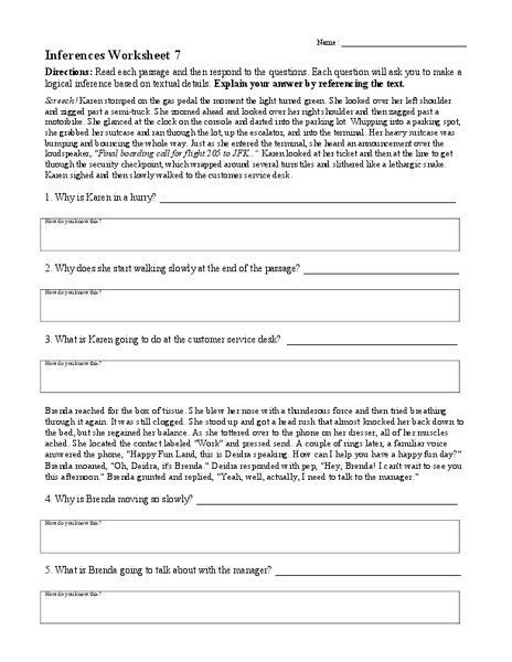 4th Grade Inferencing Worksheets Inferences Worksheet 7 Worksheet for 4th 8th Grade