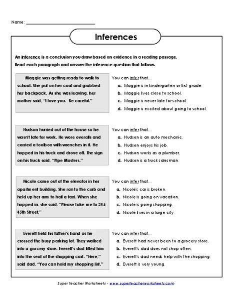 4th Grade Inferencing Worksheets Inferences Worksheet for 3rd 4th Grade