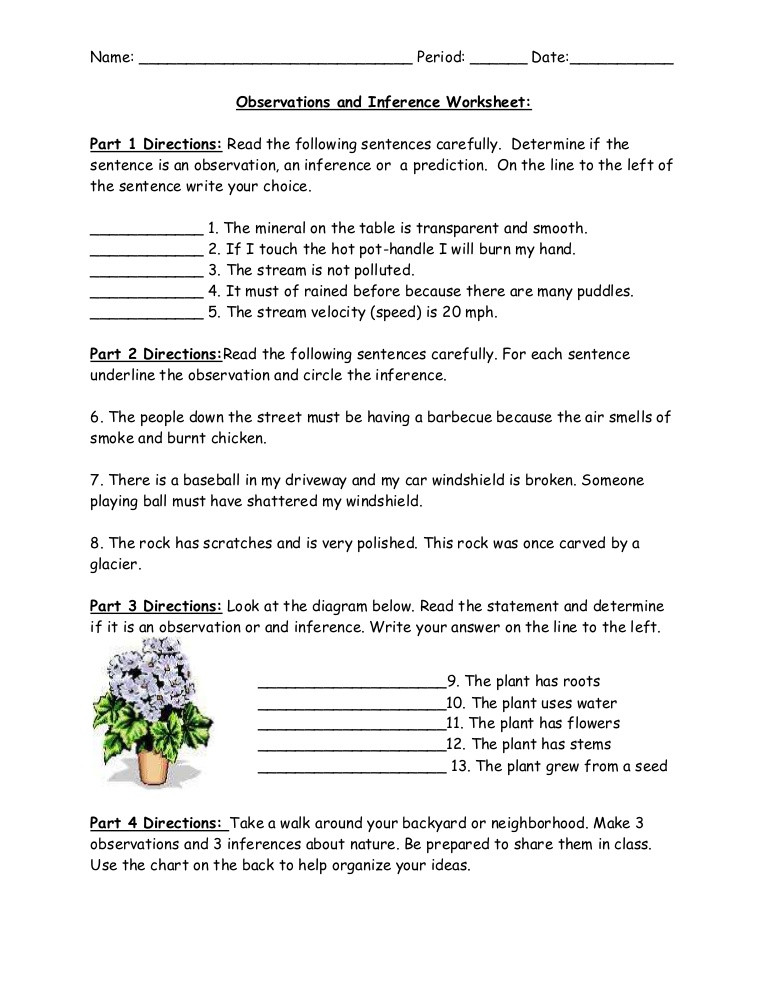 4th Grade Inferencing Worksheets Observations and Inference Worksheet