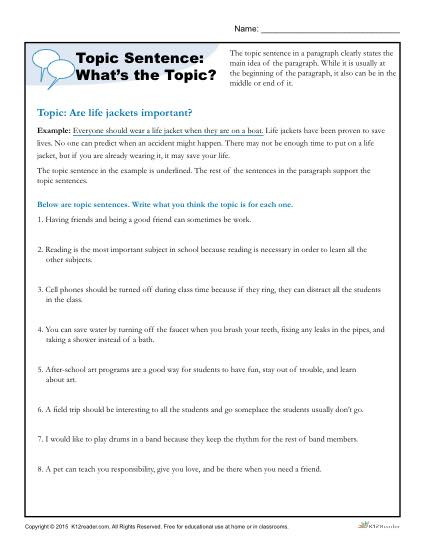 4th Grade Paragraph Writing Worksheets topic Sentence What S the topic