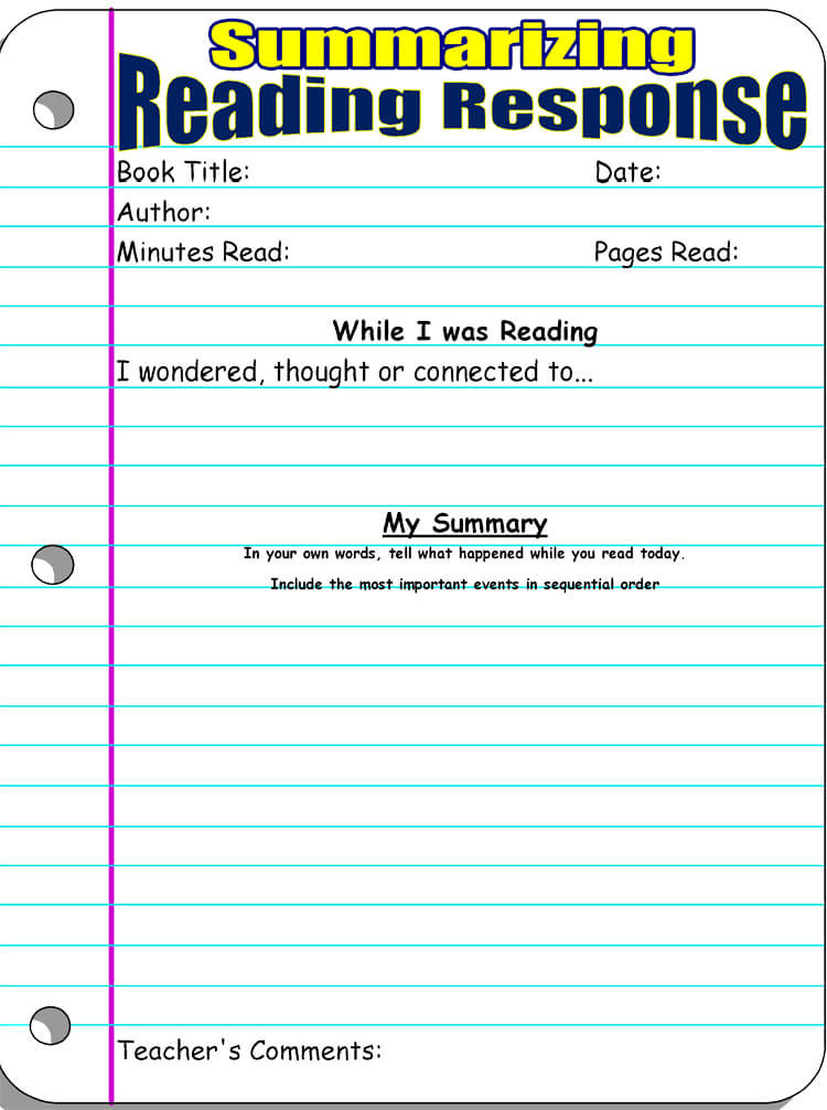 4th Grade Reading Response Worksheets 14 Free Reading Response Worksheet Templates Word Pdf