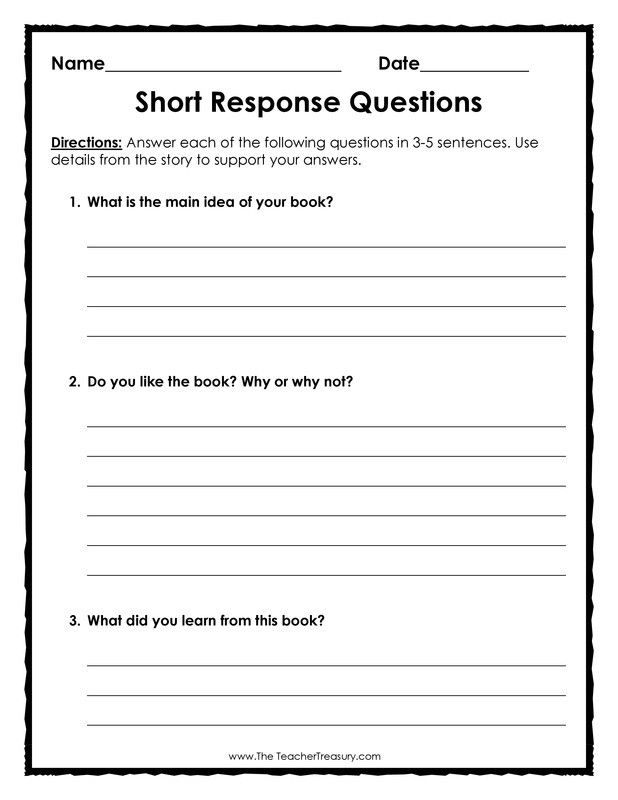 4th Grade Reading Response Worksheets Category the Teacher Treasury