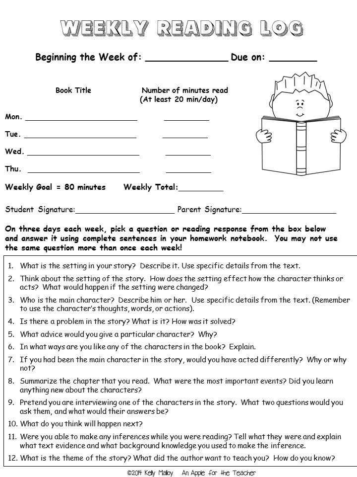 4th Grade Reading Response Worksheets Reading Response Journal Prompts and Reading Logs 4th
