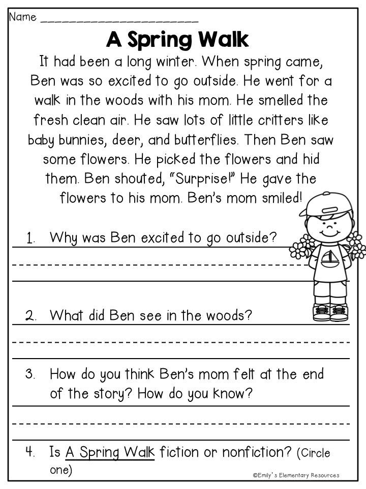 4th Grade Reading Response Worksheets Spring Fling Writing & Literacy Activities