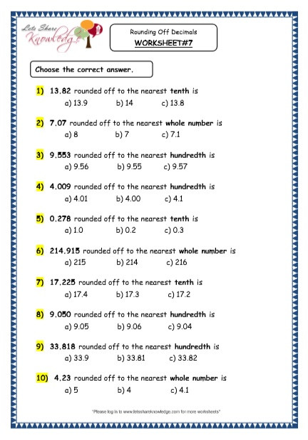 4th Grade Rounding Worksheets Grade 4 Maths Resources 3 4 Rounding F Decimals Printable