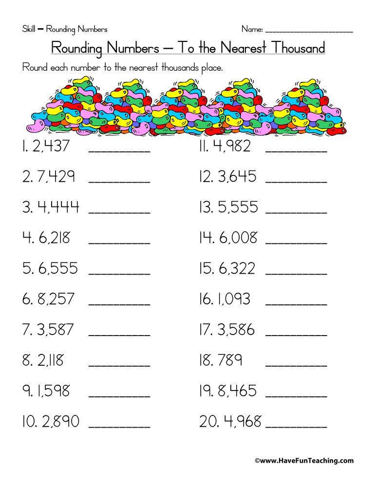 4th Grade Rounding Worksheets Rounding to the Nearest Thousand Worksheet
