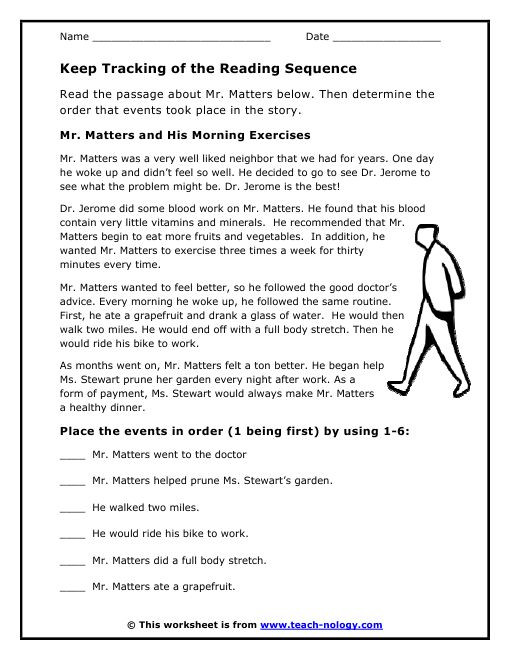 4th Grade Sequencing Worksheets Mr Matters and His Morning Exercises